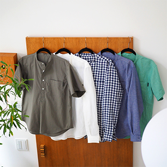 大人服,メンズ,プルオーバー,バンドカラー,シャツ,型紙,作り方